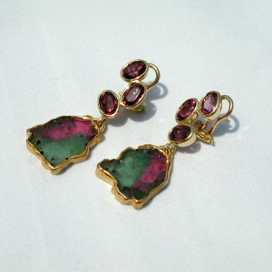 earrings turmolin and rodolite hanging wang